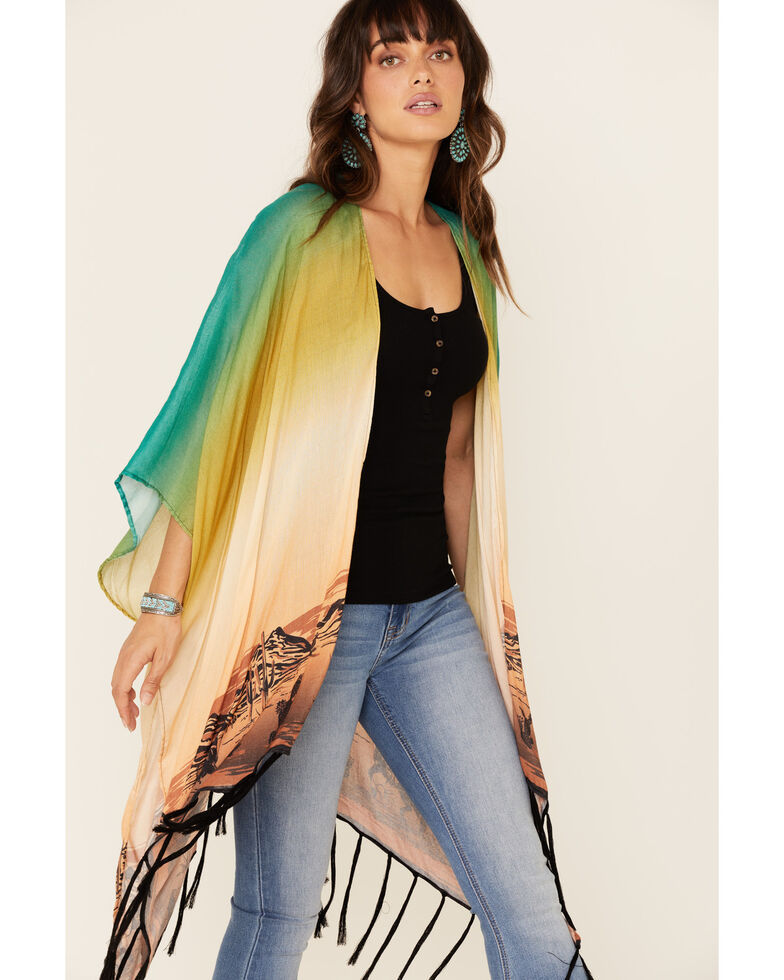 Ariat Women's Multi Print Pioneer Fringe Kimono , Multi, hi-res