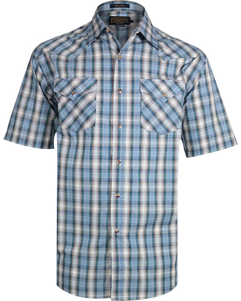 Pendleton Men's Plaid Print Short Sleeve Western Shirt, Aqua, hi-res