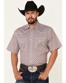Wrangler 20X Men's Burgundy Small Geo Print Short Sleeve Snap Western Shirt , Burgundy, hi-res