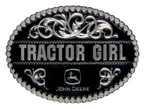 Montana Silversmiths John Deere Tractor Girl Attitude Belt Buckle, Silver, hi-res