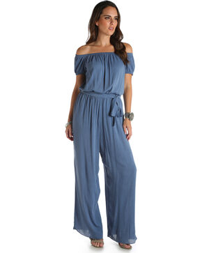 Wrangler Women's Blue Denim Wide Leg Jumpsuit , Blue, hi-res