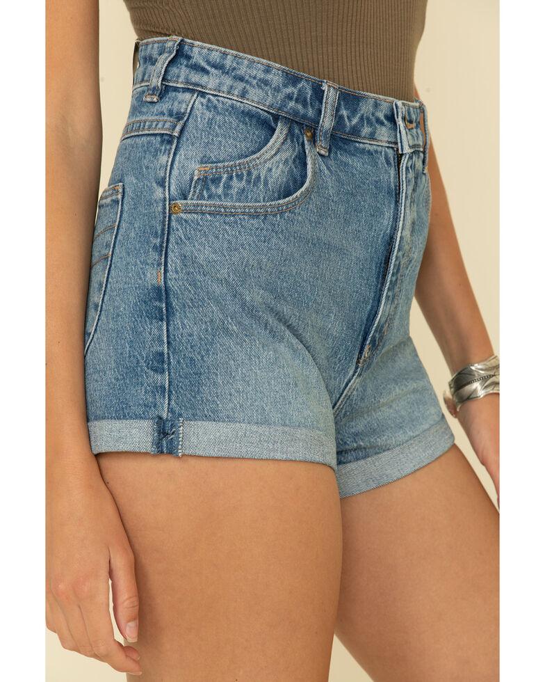 Rolla's Women's Medium Wash Rolled Hem Duster Shorts, Blue, hi-res