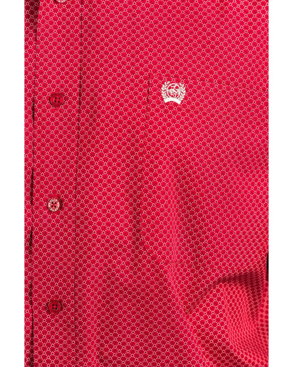 Cinch Men's Red Geo Tencel Print Button Long Sleeve Western Shirt , Red, hi-res