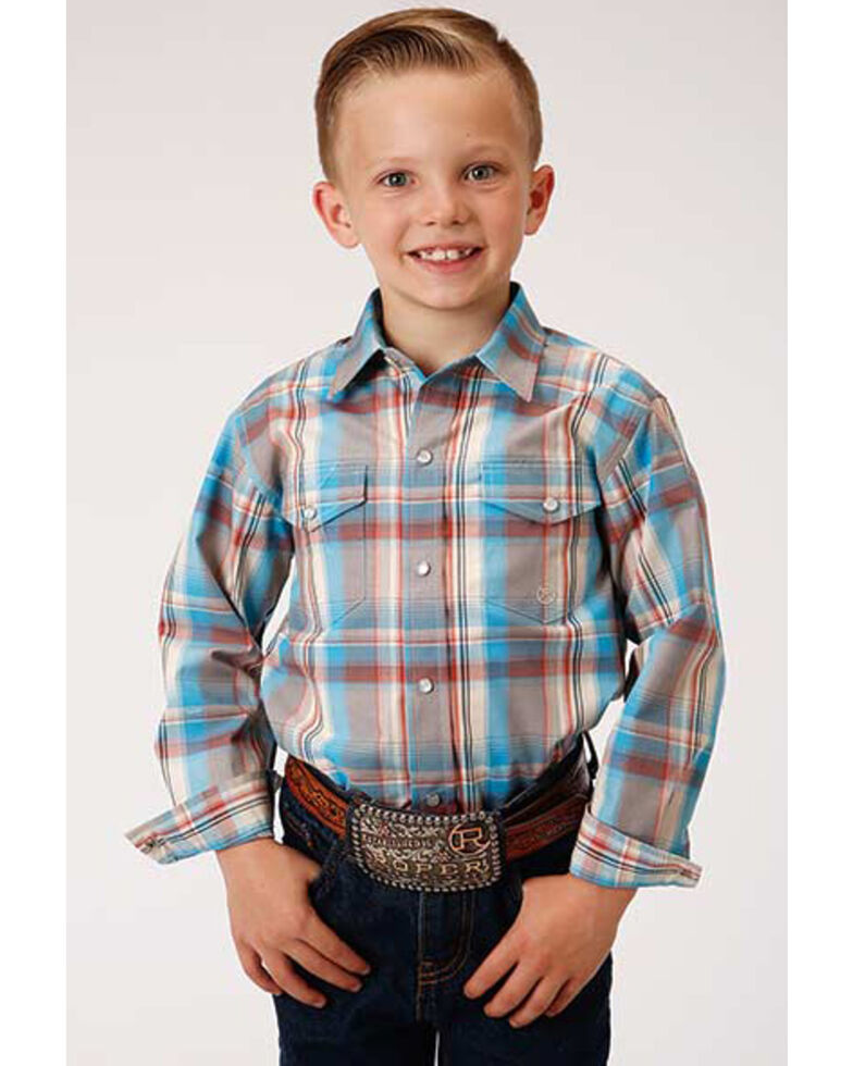 Roper Boys' Amarillo Oasis Plaid Long Sleeve Western Shirt , Multi, hi-res