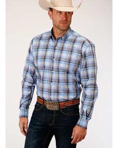 Amarillo Men's Dusk Cool Breeze Plaid Long Sleeve Western Shirt , Blue, hi-res