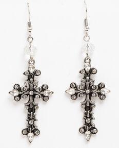 Shyanne Women's Crystal Cross Fancy Cross Earrings, Silver, hi-res