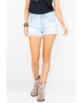 Levis Women's Got Owned Distressed Light High Rise Denim Shorts , Blue, hi-res