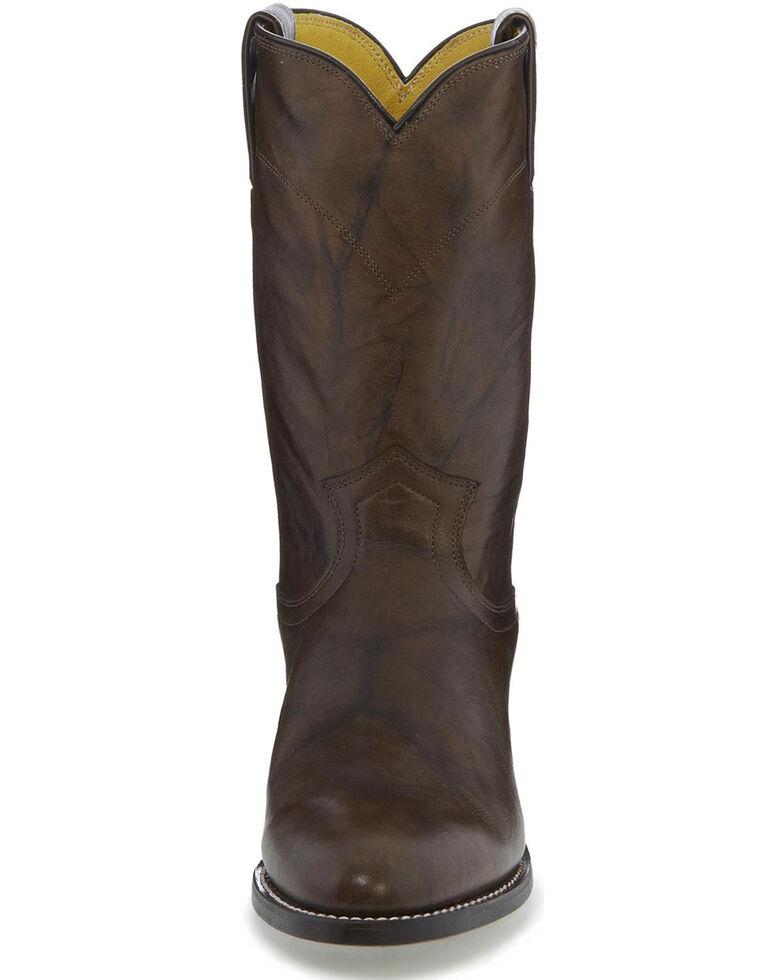 Justin Men's Classics Deerlite Roper Cowboy Boots - Round Toe, Dark Brown, hi-res