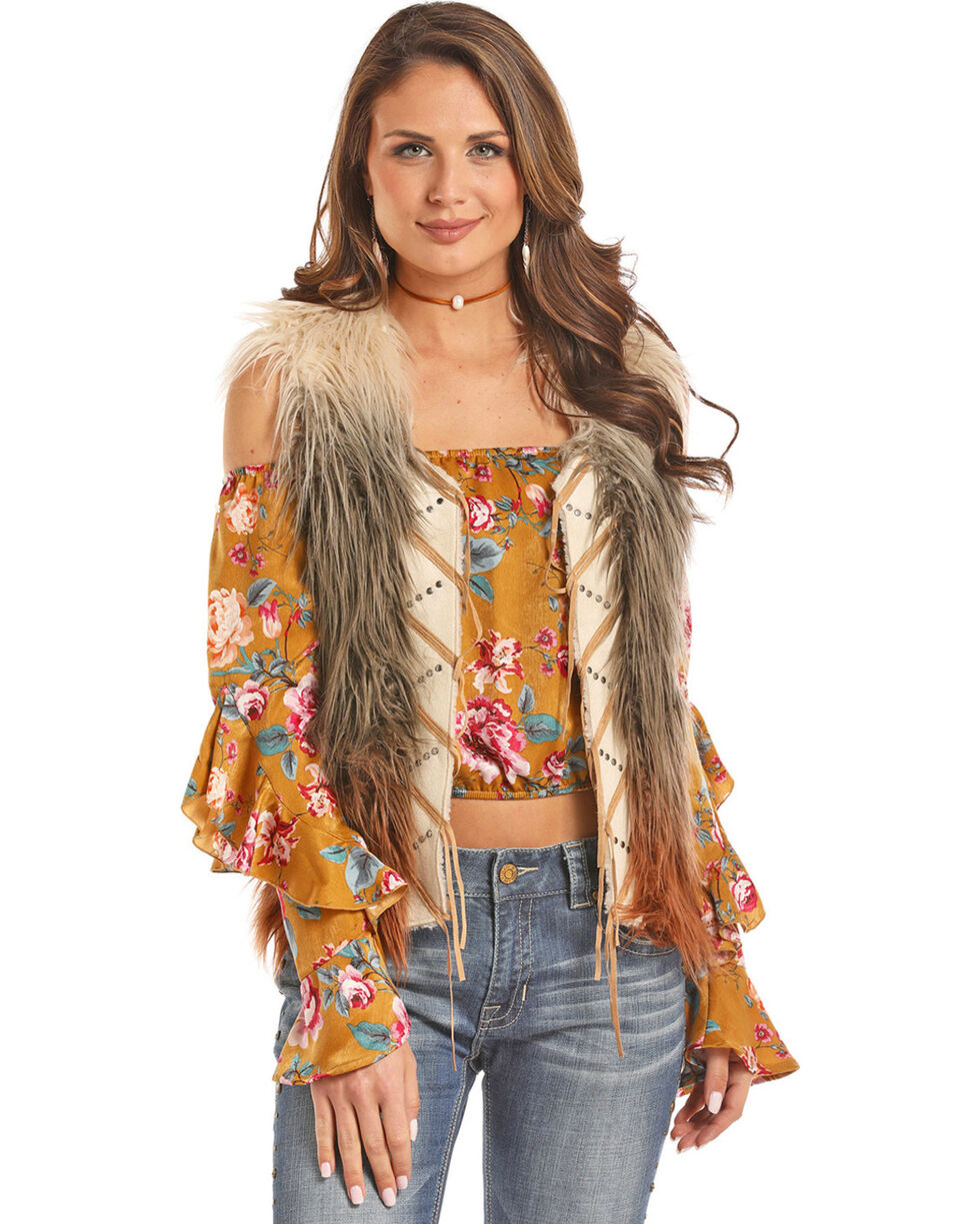 Panhandle Women's Ombre Fringe Front Fur Vest, Multi, hi-res