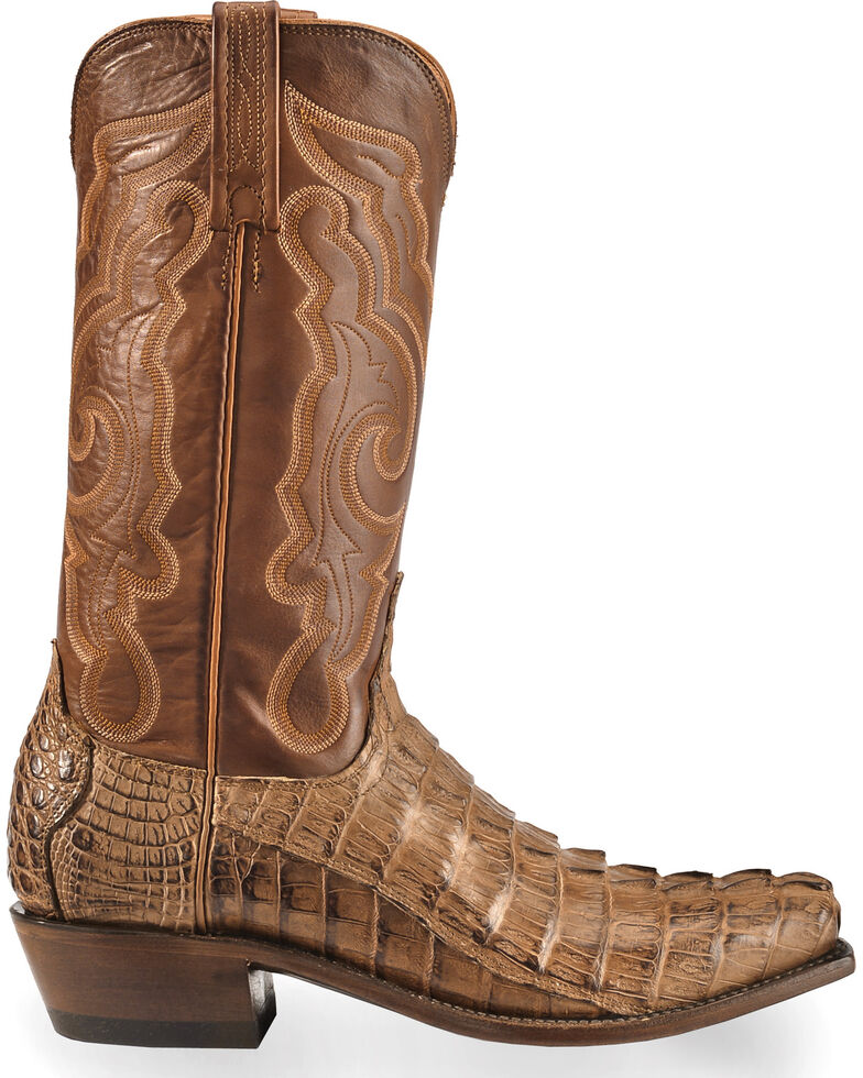 Lucchese Men's Handmade Tan Franklin Hornback Caiman Tail Boots - Snip Toe , Tan, hi-res
