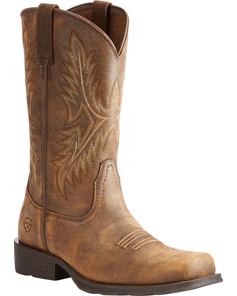 Ariat Men's Brown Western Rambler Vintage Bomber Boots   Square Toe by Ariat
