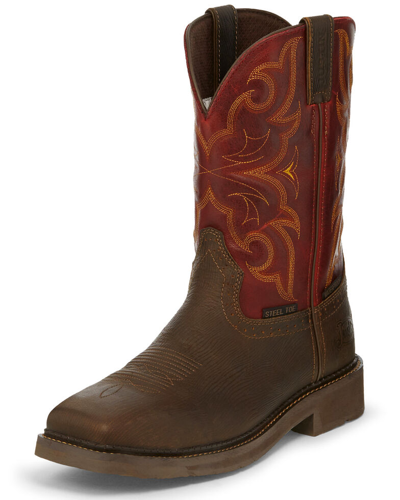 Justin Men's Oxblood Waterproof Western Work Boots - Steel Toe, Brown, hi-res