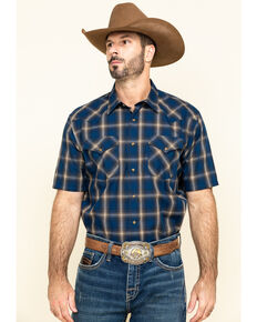 Pendleton Men's Navy Frontier Plaid Short Sleeve Western Shirt , Navy, hi-res