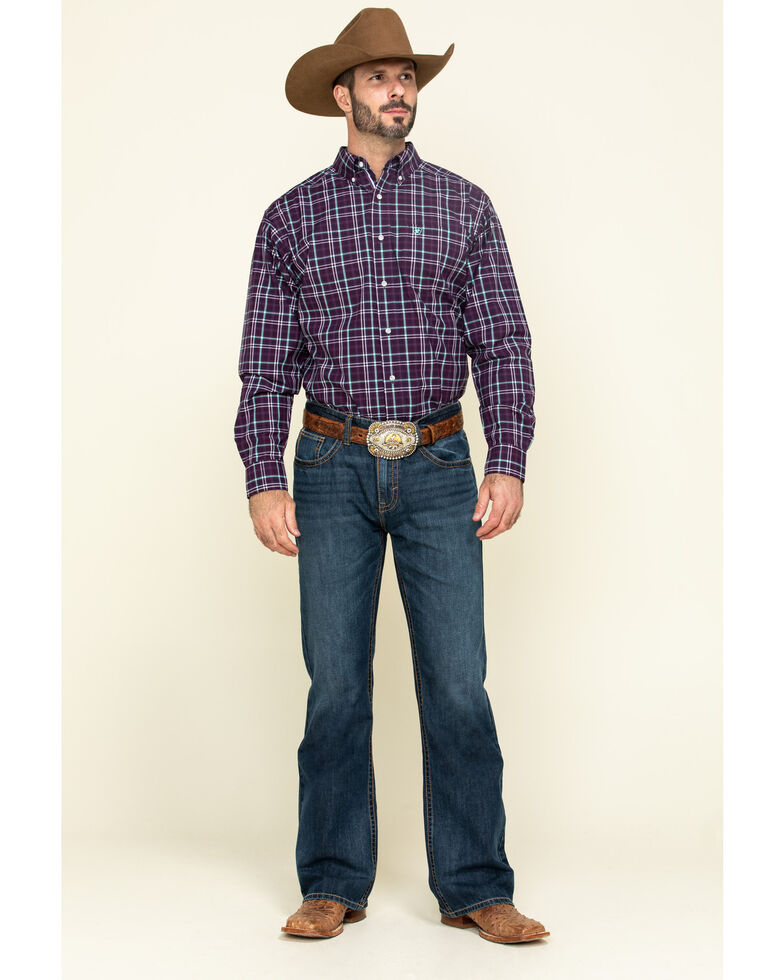 Ariat Men's Riverview Plaid Long Sleeve Western Shirt - Tall , Purple, hi-res