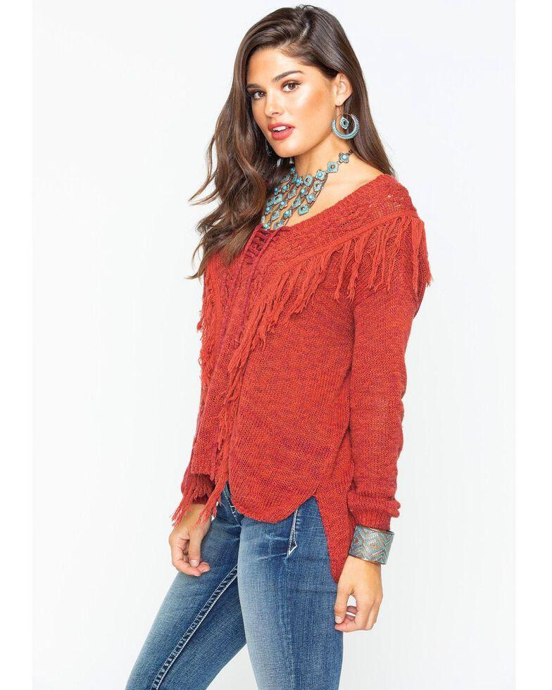 Shyanne Women's Lace Up Fringe Sweater , Rust Copper, hi-res