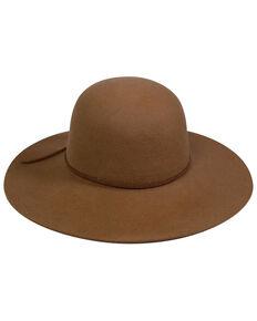 San Diego Hat Company Women's Camel Round Raw Edged Wool Felt Floppy Hat, Camel, hi-res