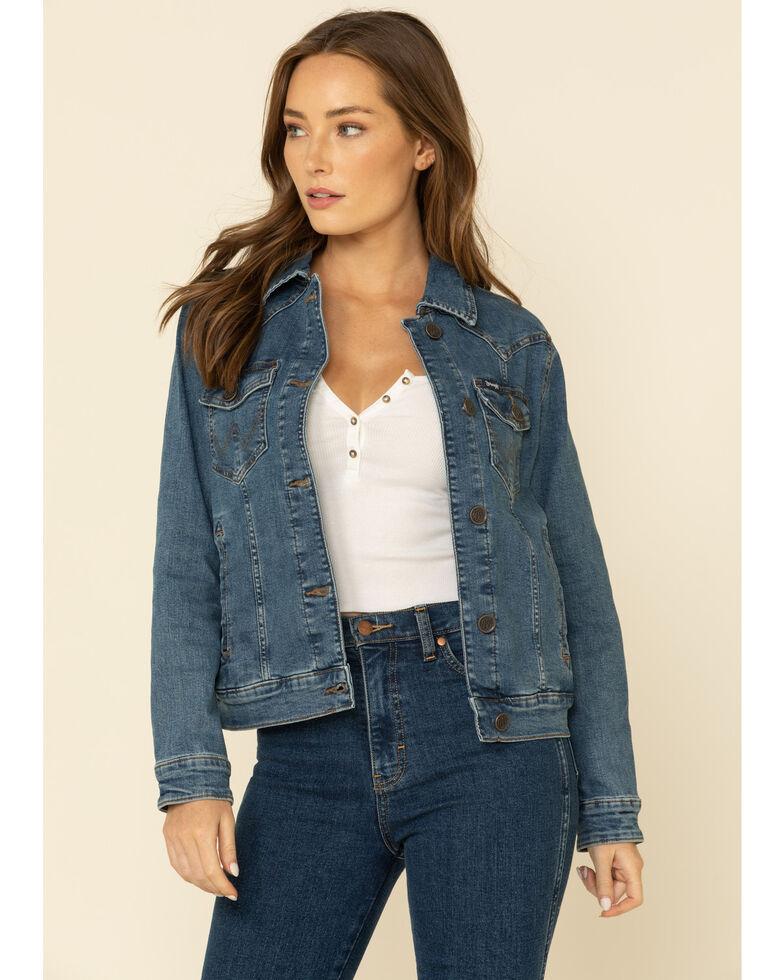 Wrangler Women's Dark Classic Fit Denim Jacket, Blue, hi-res