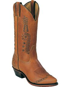 Boulet Leaf Cowgirl Boots - Pointed Toe, Tan, hi-res