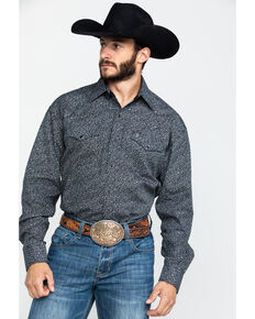 Stetson Men's Vintage Floral Print Long Sleeve Western Shirt , Black, hi-res