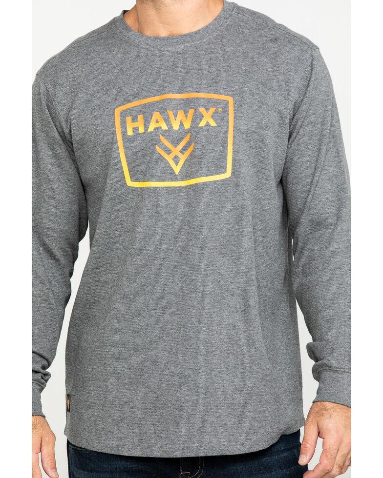 Hawx Men's Box Logo Graphic Thermal Long Sleeve Work Shirt - Tall , Charcoal, hi-res