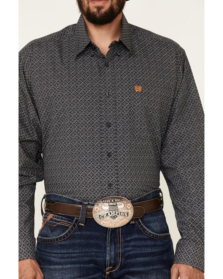 Cinch Men's Charcoal Geo Print Long Sleeve Button-Down Western Shirt - Big, Charcoal, hi-res