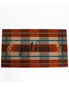BB Ranch Gather Plaid Doormat, Orange, hi-res