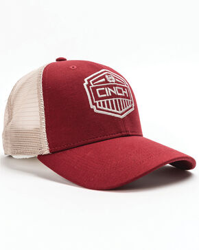 Cinch Men's Red Trucker Cap, Red, hi-res
