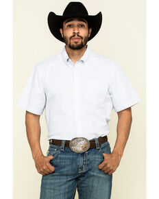 Cody James Core Men's Crossroads Geo Print Short Sleeve Western Shirt - Tall , White, hi-res