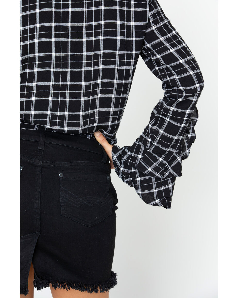 Idyllwind Women's Lovebird Ruffle Top , Black/white, hi-res