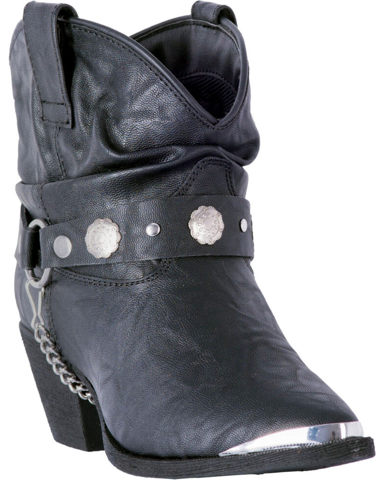 Dingo Women's Black Faux Leather Concho Strap Slouch Booties - Pointed Toe, Black, hi-res