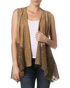 Miss Me Women's Tribal Faux Suede Vest, Taupe, hi-res