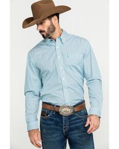 Cinch Men's Modern Fit Light Blue Small Geo Print Long Sleeve Western Shirt , Blue, hi-res