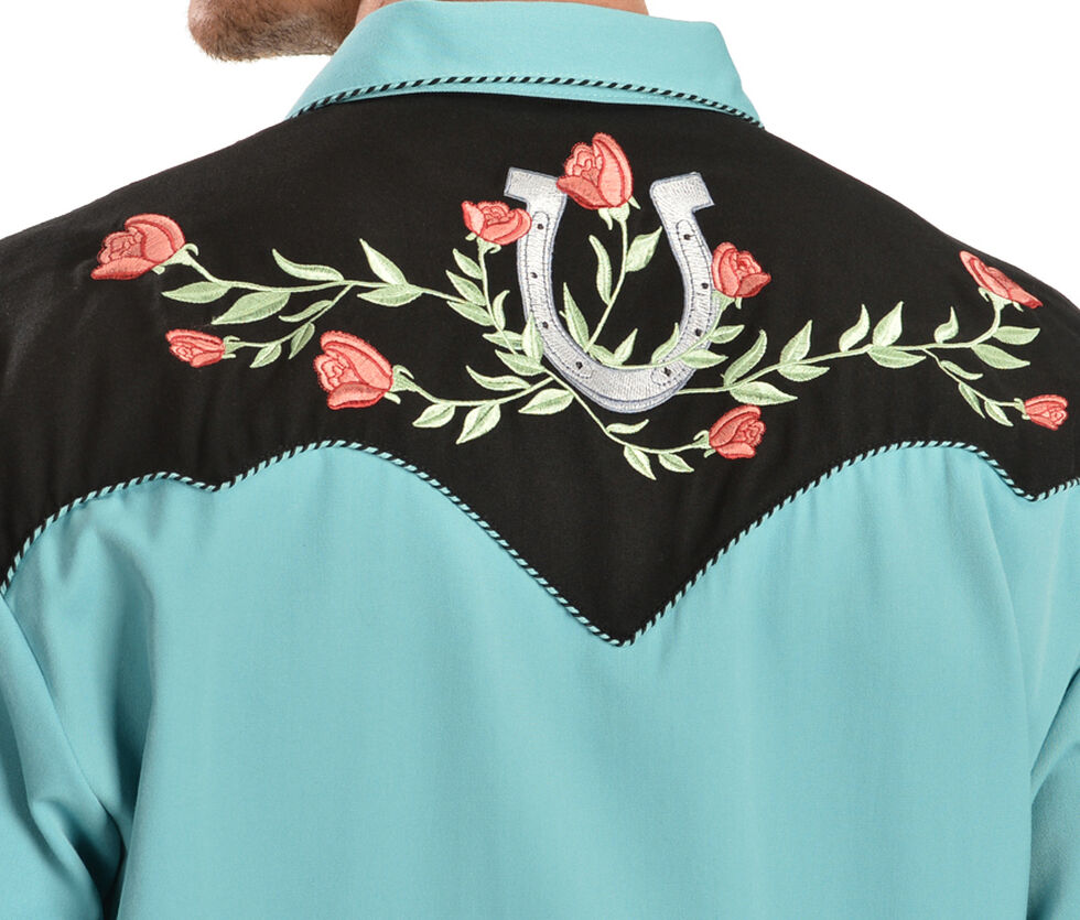 Scully Rose & Horseshoe Embroidered Retro Western Shirt - Big & Tall, Turquoise, hi-res