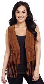 Cripple Creek Hand-Laced Leather Fringe Open-Front Vest, Brown, hi-res
