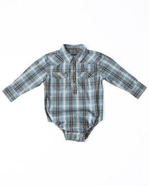 Cody James Infant Boys' Ringo Ombre Plaid Long Sleeve Western Onesie , Brown, hi-res