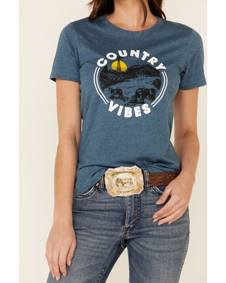 Ariat Women's Steel Blue Country Vibes Circle Graphic Tee , Blue, hi-res