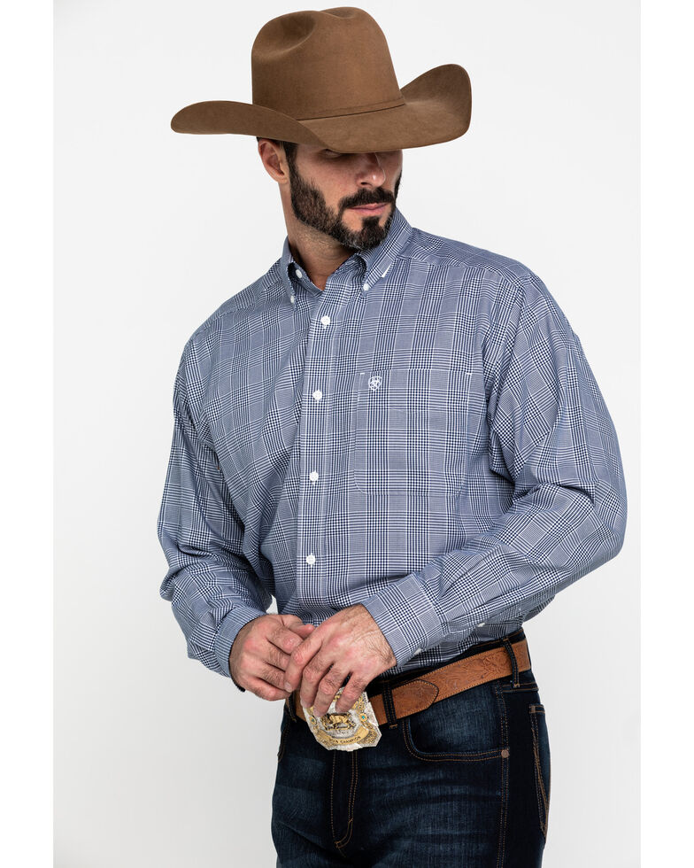 Ariat Men's Wrinkle Free Indie Gingham Check Long Sleeve Western Shirt , Blue, hi-res