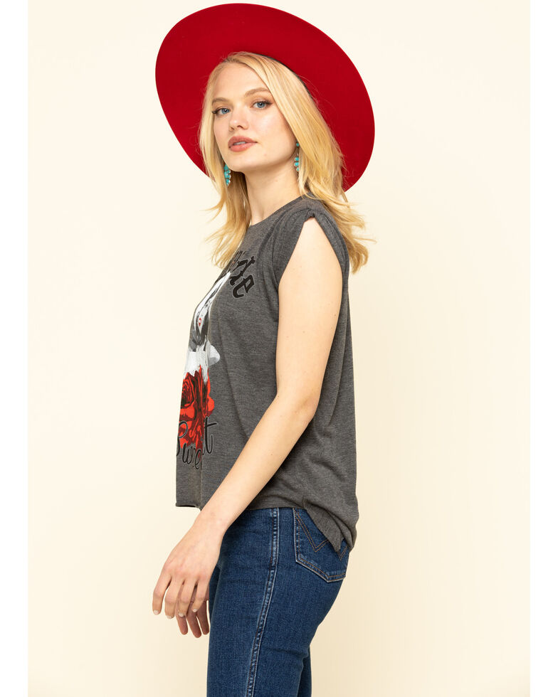 Rodeo Quincy Women's Stampede Sweetheart Roll Cuff Muscle Tee , Charcoal, hi-res