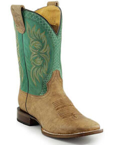 Roper Men's Concealed Carl Western Boots - Square Toe, Tan, hi-res