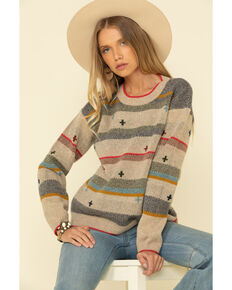 Pendleton Women's Tan Bridger Stripe Sweater , Tan, hi-res