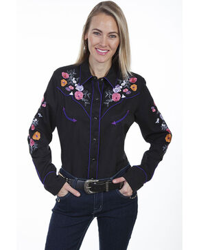 Scully Women's Black Rose Embroidered Long Sleeve Western Shirt, Black, hi-res