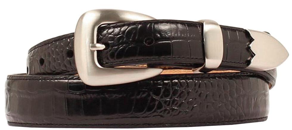 Double Barrel Gator Print Leather Belt, Black, hi-res