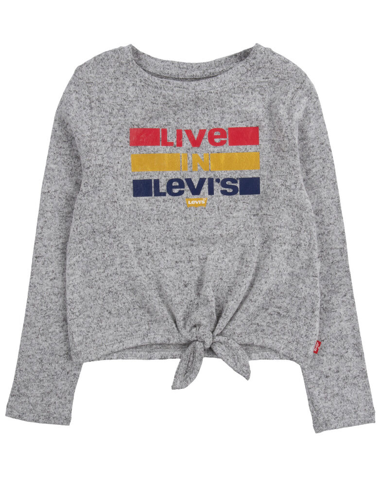Levi's Girls' Live In Levi's Graphic Tie-Front Long Sleeve Top , Grey, hi-res