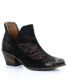 Corral Women's Black Embroidery Fashion Booties - Round Toe, Black, hi-res