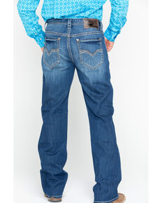 Rock & Roll Cowboy Men's Denim Multicolor Stitch Loose Boot Jeans , Blue, hi-res
