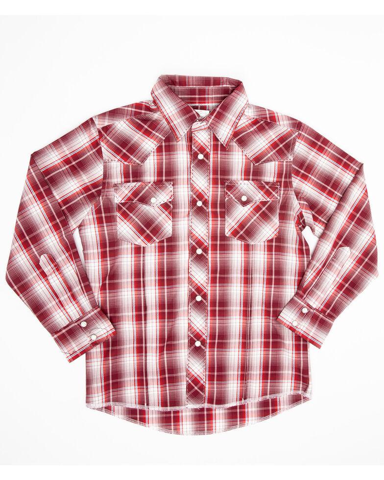Wrangler Boys' Assorted Fashion Snap Plaid Long Sleeve Western Shirt , Multi, hi-res