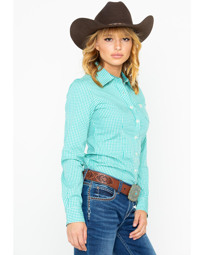 aab98270 Zoomed Image Cinch Women's Gingham Plaid Button Long Sleeve Western Shirt ,  Turquoise, hi-res