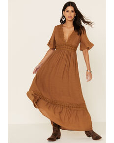 Wishlist Women's Lace Trim Maxi Dress, Mustard, hi-res
