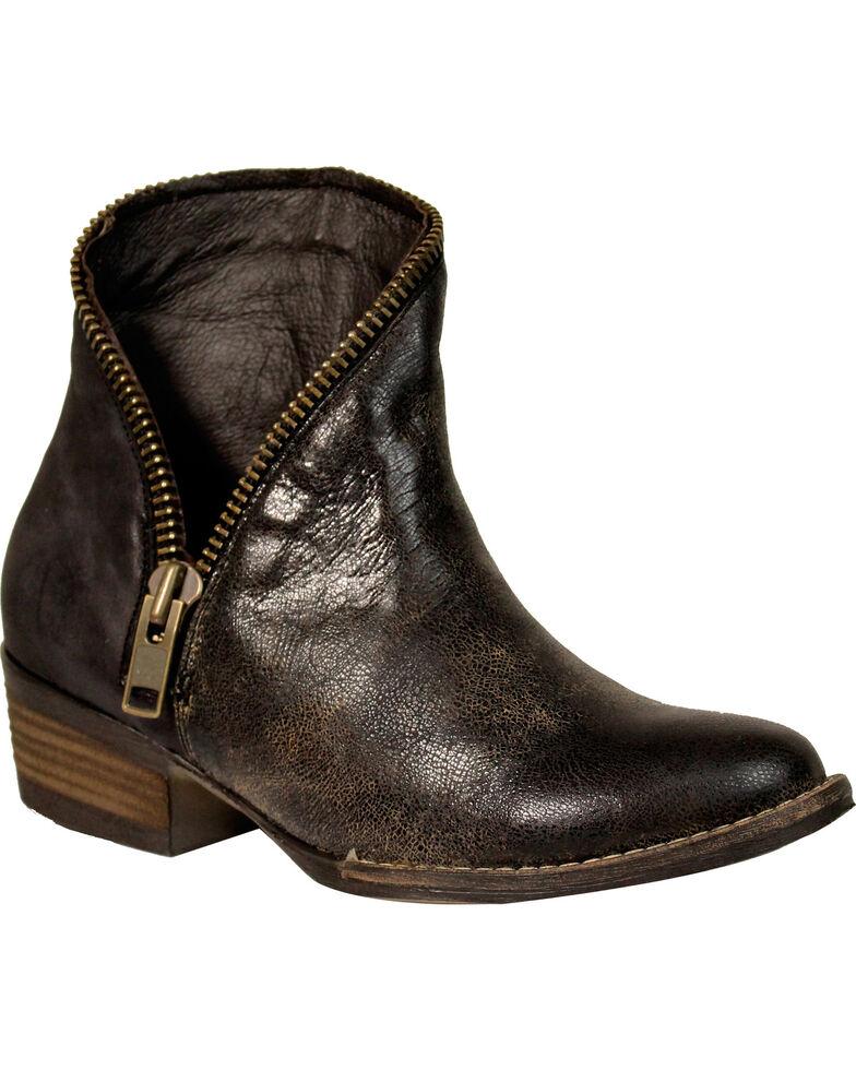 Corral Women's Metallic Zipper Booties - Round Toe , Black, hi-res