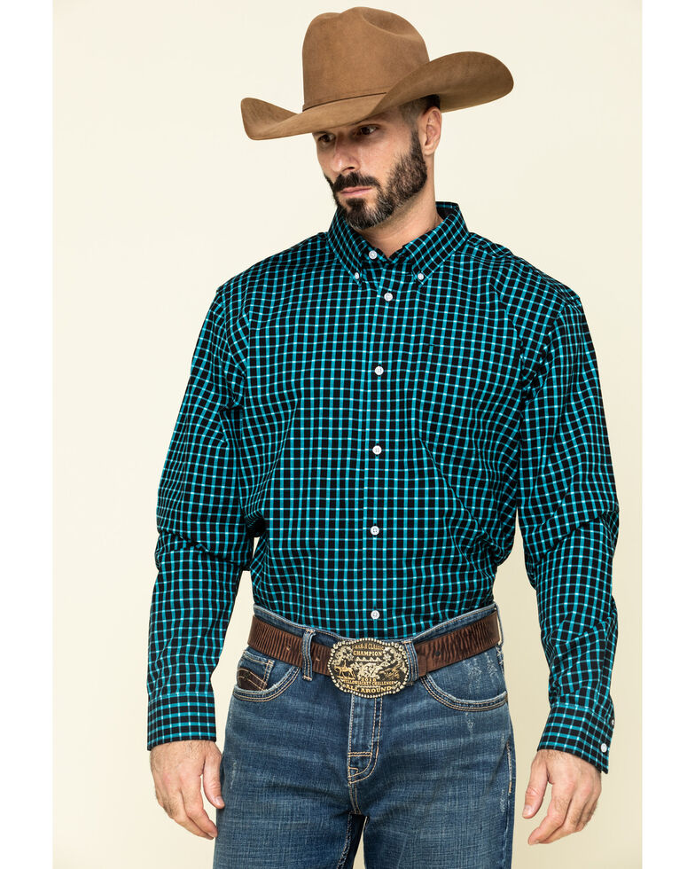 Cody James Core Men's Outlaw Territory Check Plaid Long Sleeve Western Shirt -Tall , Black, hi-res